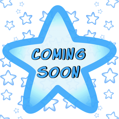coming soon blue stars sign