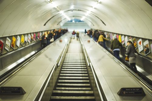 commuter escalator indoors