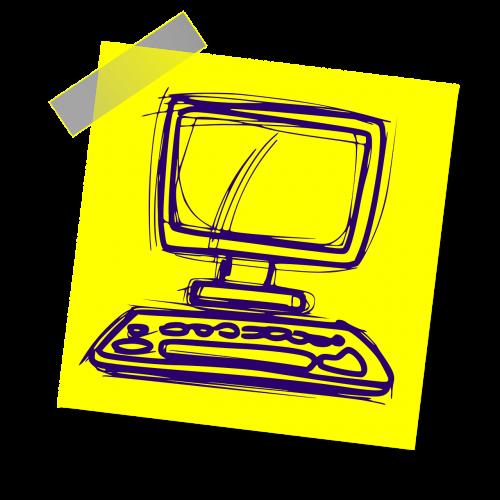 kompiuteris,comp,internetas,klaviatūra,stalas,ženklas,pastaba,geltona lipdukė,rašyti pastabą,biuras