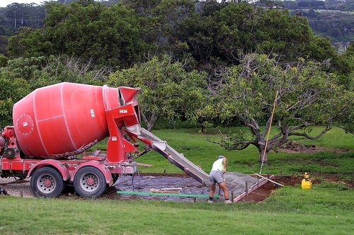 concrete  mixer  pouring