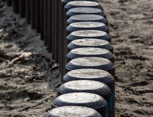 concrete pillar demarcation wall