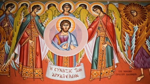 congregation of angels iconography painting