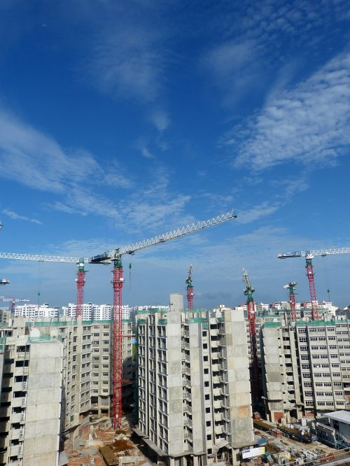 construction site cranes