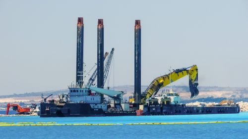 construction site cranes heavy machines