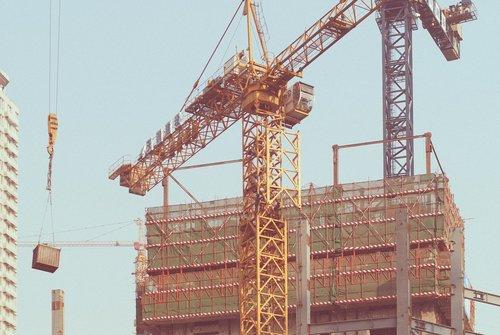 construction site  crane  w