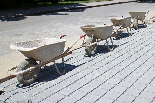 construction work wheelbarrow transport