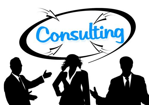 consulting businessmen silhouettes