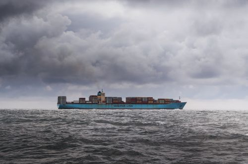 container ship sky