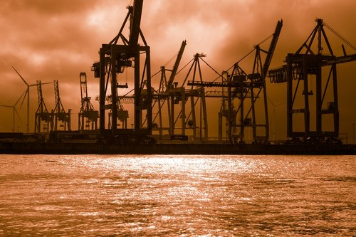 container cranes  docks  light