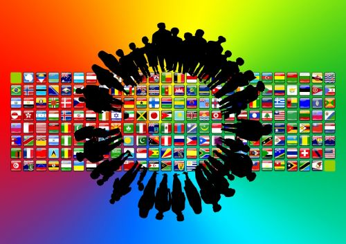 continents flags silhouettes