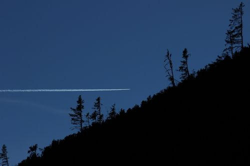 contrail forest in the mountains sky