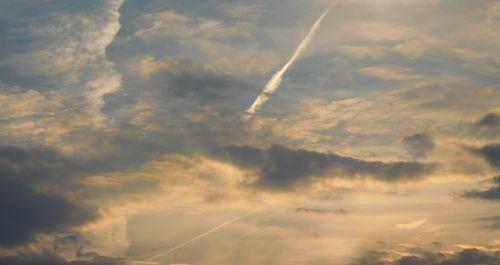 contrail clouds sky