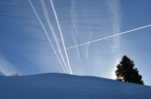 contrail winter sky