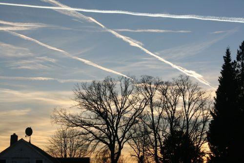 contrail evening sky aircraft