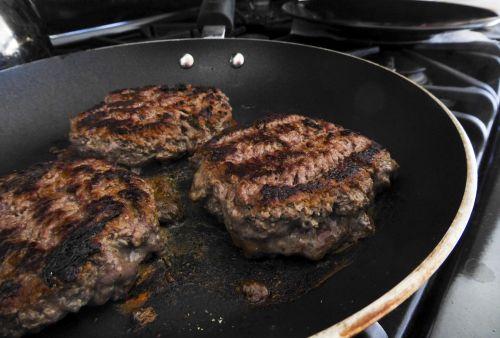 Cooked Hamburgers Indoors