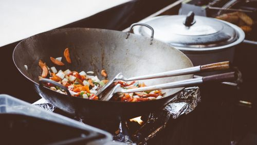 cooking food frying pan