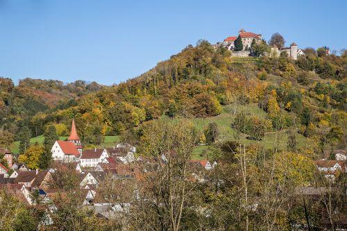 kepimo stetten,pilis stetten,kocher,Kocherio slėnis,pilis,ruduo,Hohenlohe,aukso ruduo