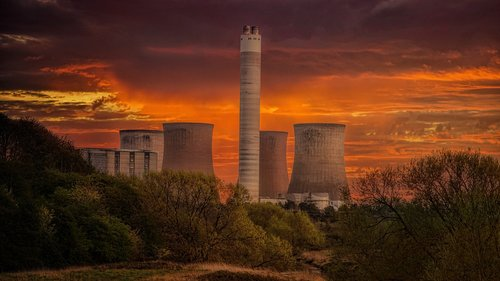 cooling towers  industry  evening