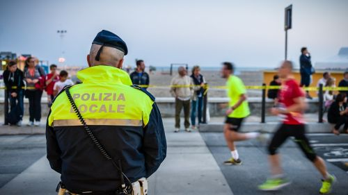 cop human road