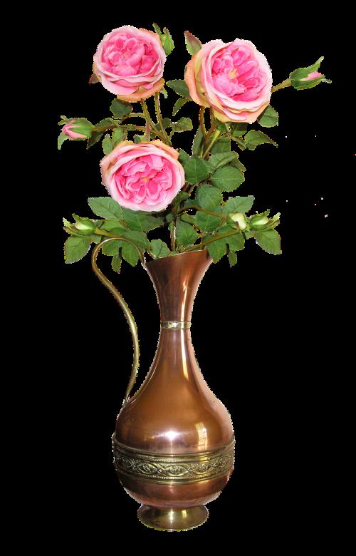 copper jug roses vase