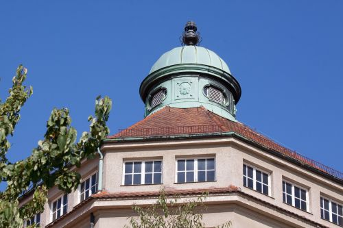 copper roof turret building