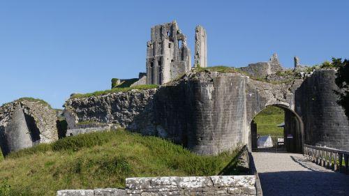 corfe caste gb ruin castle