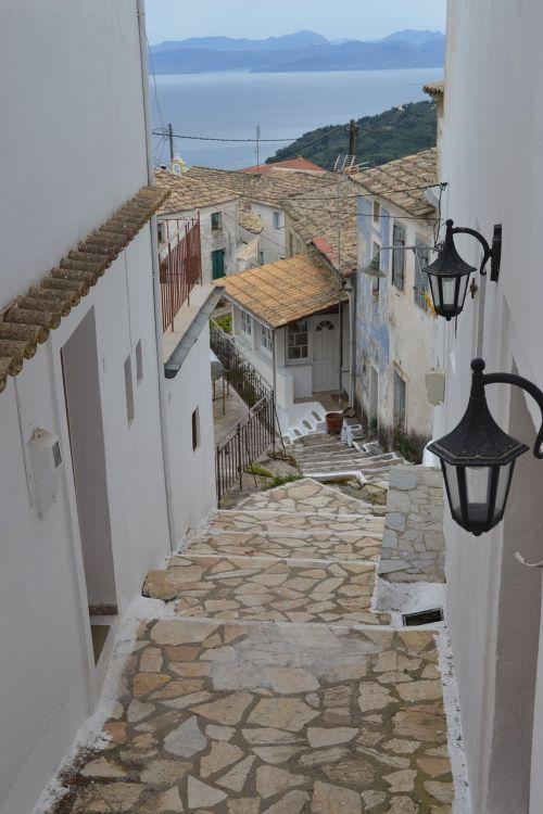 corfu village mountains