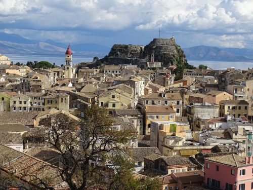 corfu city panorama