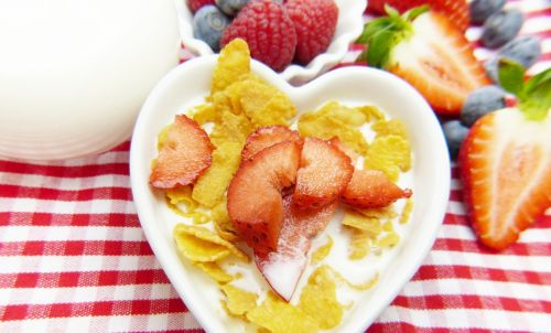 cornflakes milk fruit
