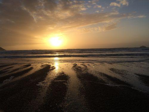 cornish sunset ocean