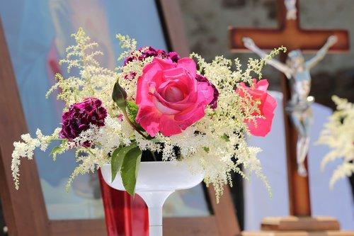 corpus christi feast  pink roses  church