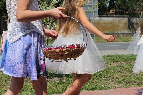 corpus christi feast  girls throwing rose petals  procession