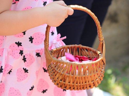 corpus christi feast  girl throwing rose petals  procession