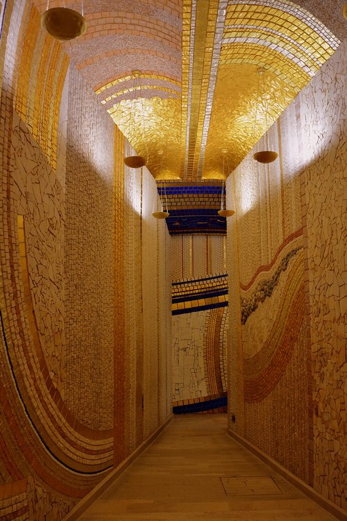 corridor  generously sized  mosaics