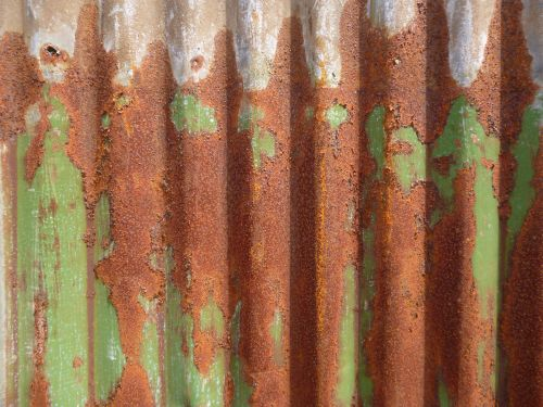 žalias, rūdys, gofruotas, geležis, alavas, fonas, tekstūra, metalas, gofruotoji geležis