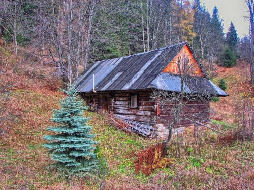 cottage hut mountains