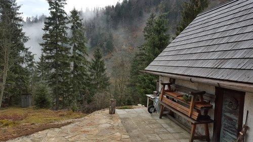 cottage  mountains  alps