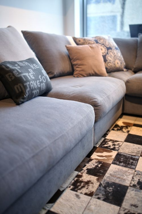 couch pillows leather carpet