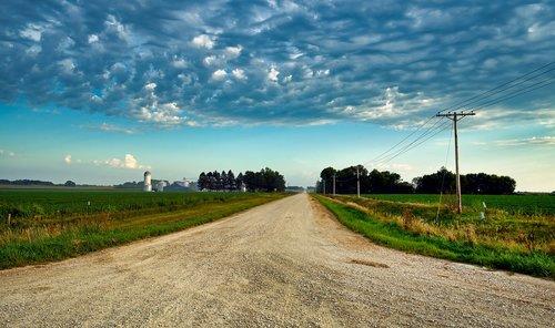 country road  iowa  soybean fields