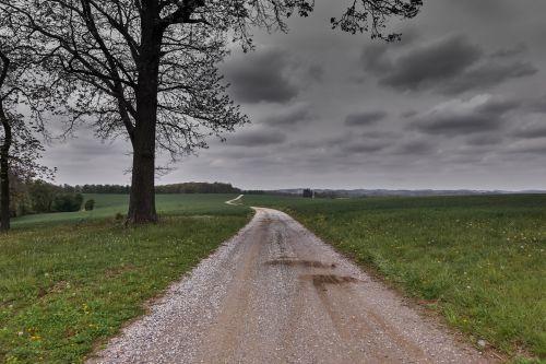 Šalis, kelias, pa, pennsylvania, ūkis, purvinas & nbsp, kelias, žvyras, kelias, pavasaris, debesys, tylus, taikus, apskrities kelias
