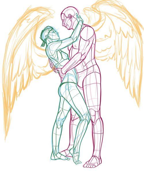 couple embrace angel