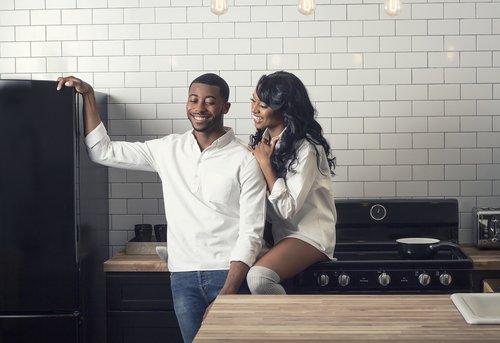 couple  smiling  kitchen