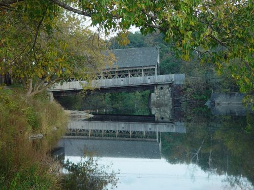 covered bridge stream creek