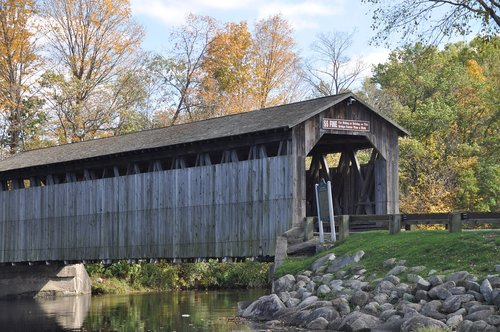 covered bridge  river  water