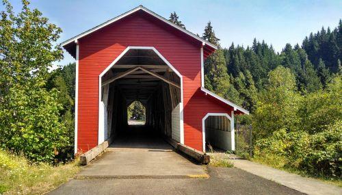 covered bridge red rural