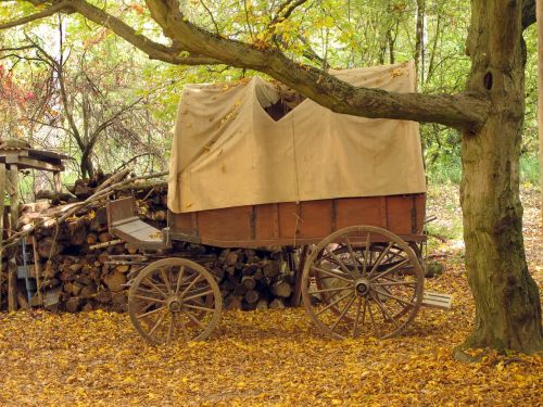 covered wagon wooden cart wagon
