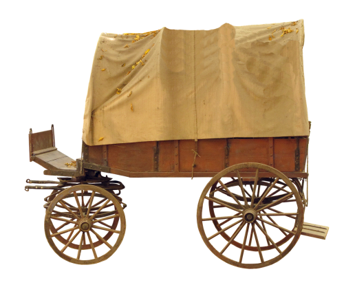 covered wagon wooden cart spokes