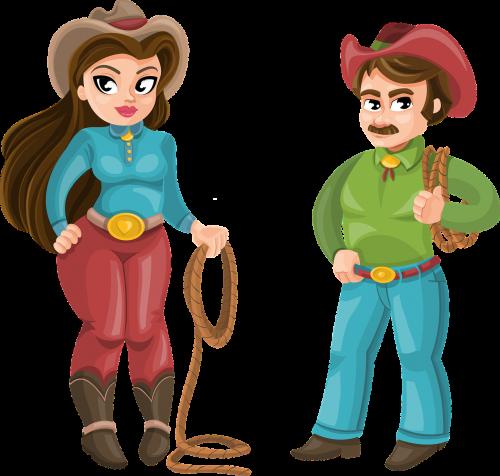 cowboy man woman