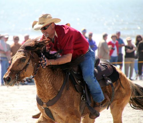 cowboy horse beach