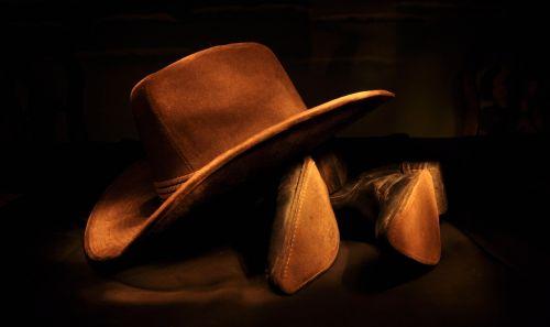 cowboy hat cowboy boots brown